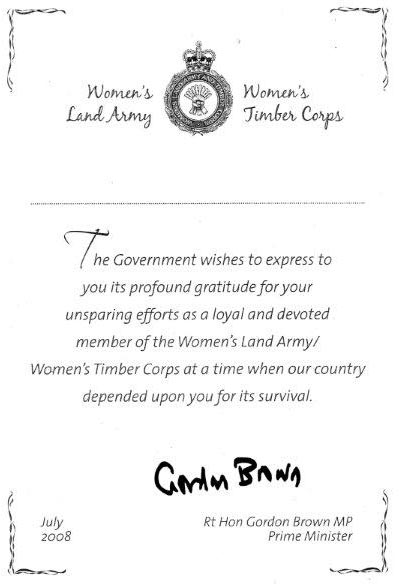 DEFRA 2008 Sample certificate awarded with the Commemorative Badge to surviving veteran land girls, signed by Prime Minister