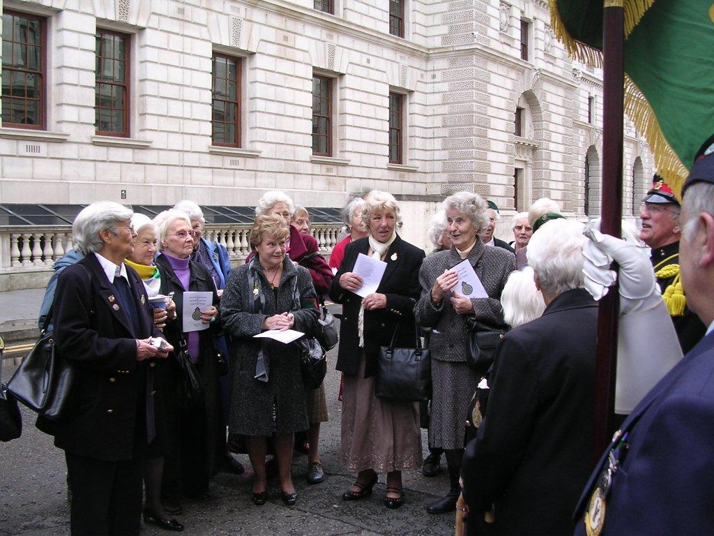Former land girls gathering prior to the annual WLA Get-Together and march to the Cenotaph, October 2009 Source: Stuart Antrobus