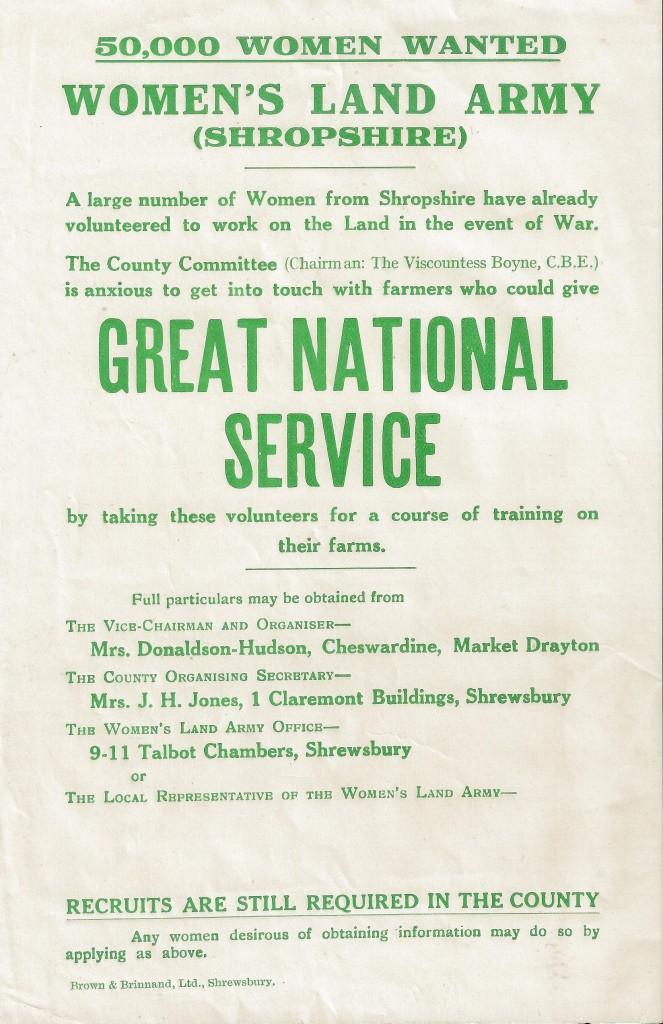 WLA Shropshire Recruitment Poster