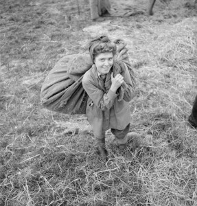 Land Girl Dorothy Sills (aged 19) from Middlesborough helps with the harvest on a farm in Yorkshire. She was a shop assistant before joining the Women's Land Army. She is shown helping with the threshing, by carrying a large sack of wheat on her shoulders. Source: IWM D 10778