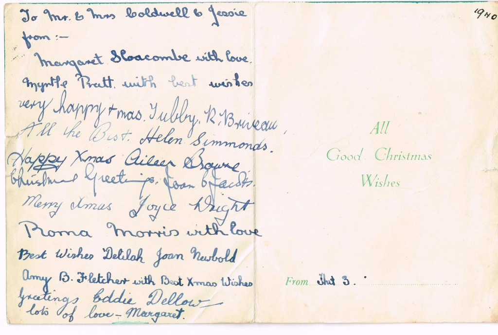 Women's Land Army Christmas Card Inside Christmas Card sent by members of Culford Camp to Margaret Elizabeth Sutherland's (nee Coldwell) mum and sister.