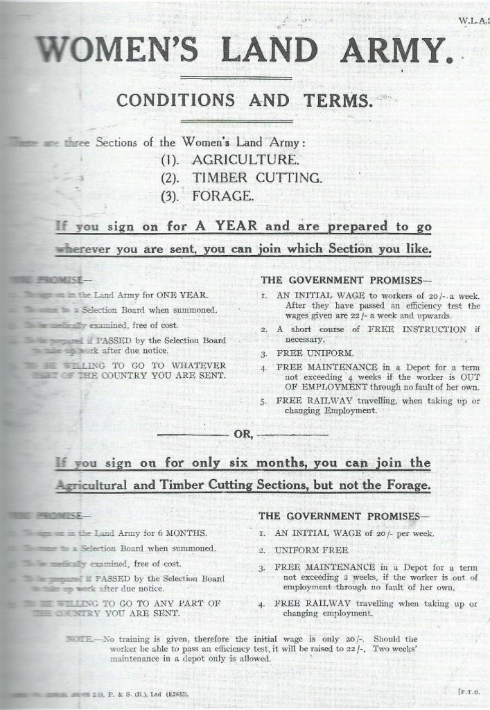 1917 Women's Land Army Conditions and Terms for women volunteer recruits. Courtesy of Stuart Antrobus.