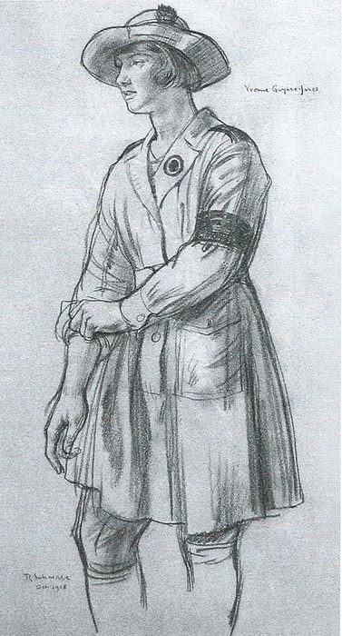 "A Girl of the Women's Land Army"" showing Miss Yvonne Gwynne-Jones. By R Schwabe, 1918 Source: IWM"