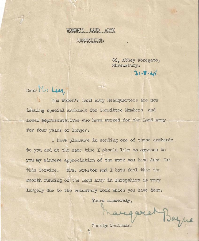 Committee Member Award Letter dated 31st August 1945 addressed to Mrs Lees from County Secretary. Source: Rachel Brenda Lees