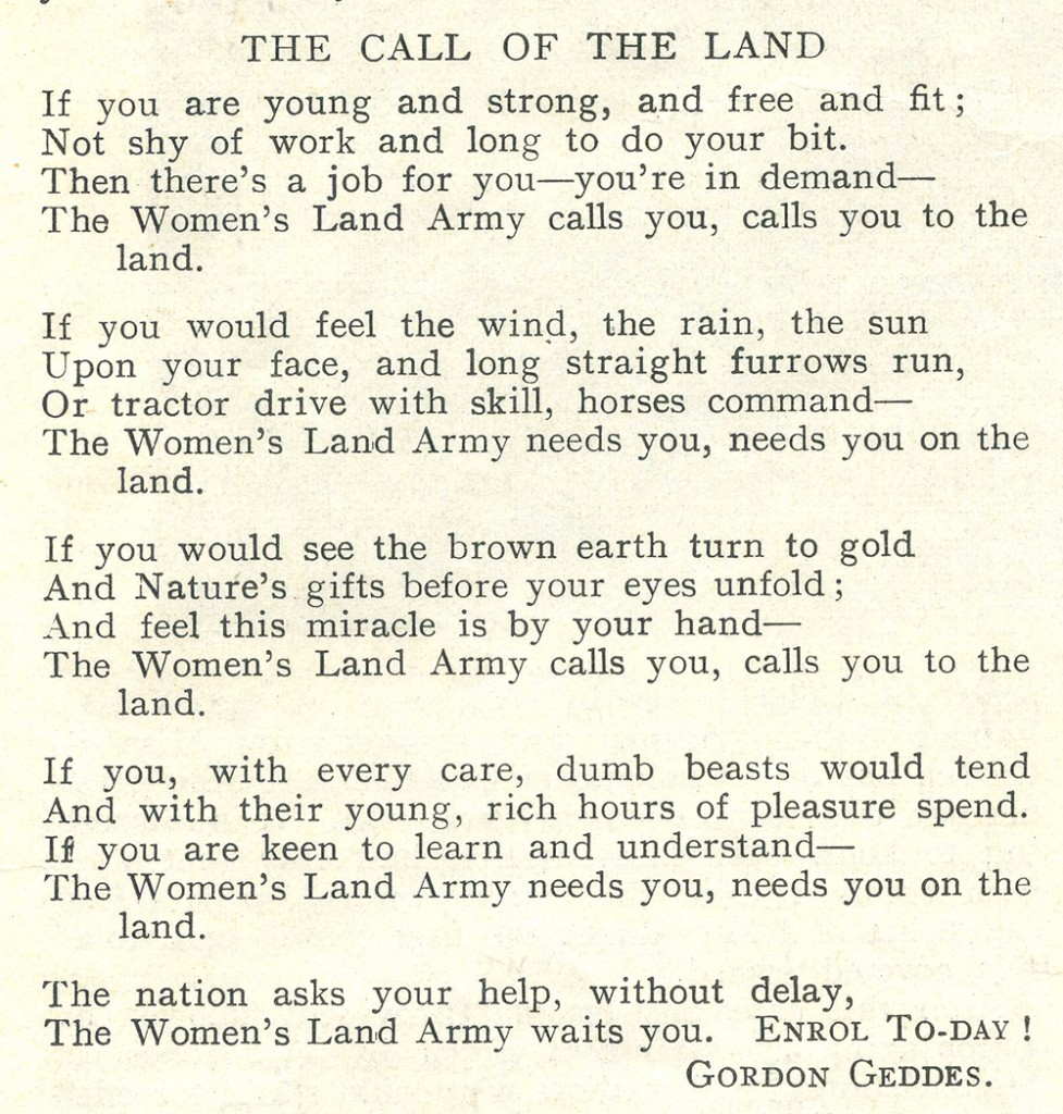 WW2 Poem: 'The Call Of The Land' Recruitment Poem – Women's Land ...