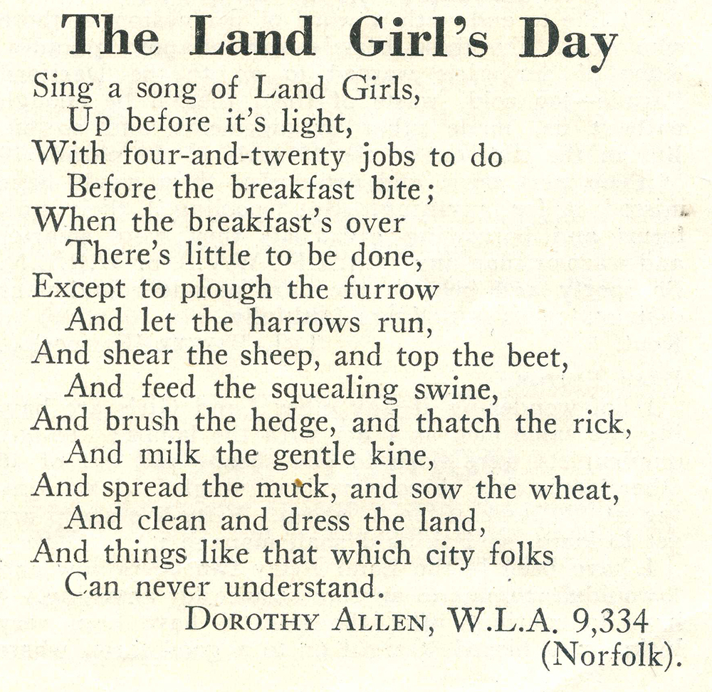 WW2 Poem: The Land Girl's Day – Women's Land Army.co.uk