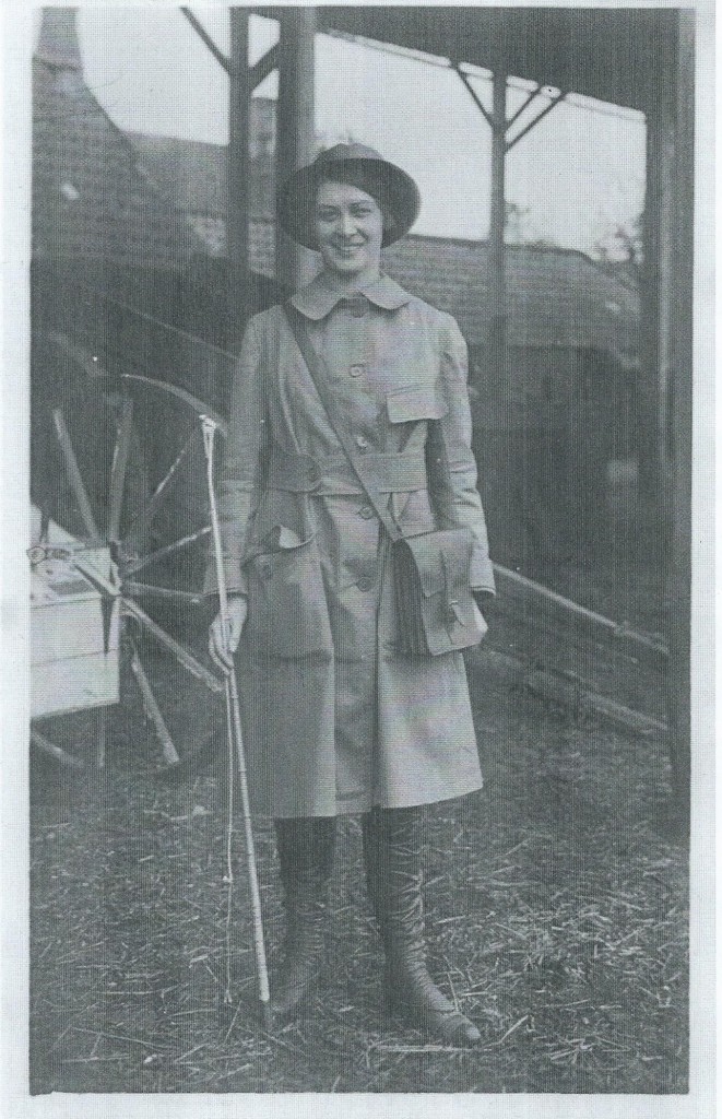 Land girl Dorothy Brown, employed by Mr Brown of Gunthorpe deliviering milk locally, 19 May 1916 Peterborough Advertiser