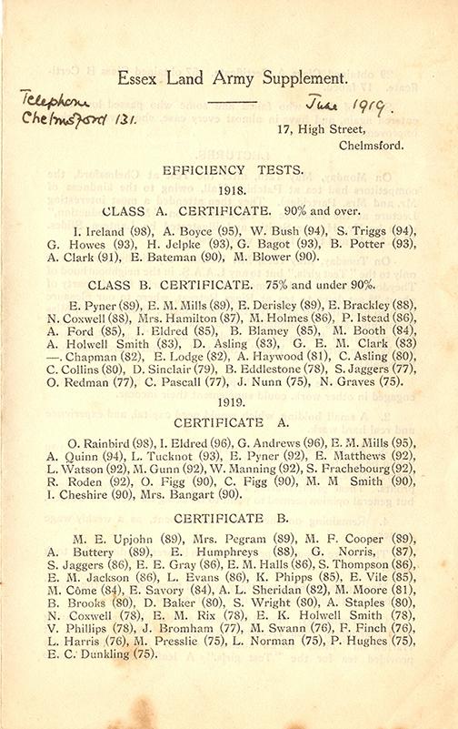 Essex Women's Land Army Supplement June 1919 First World War Land Girl Names