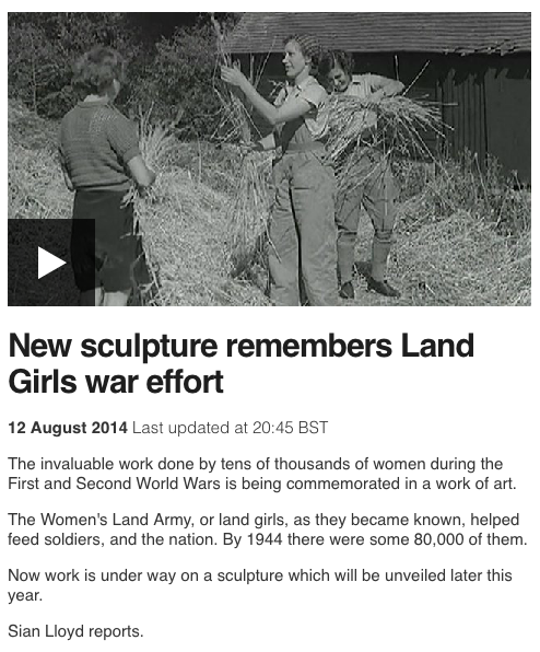 New sculpture remembers Land Girls war effort