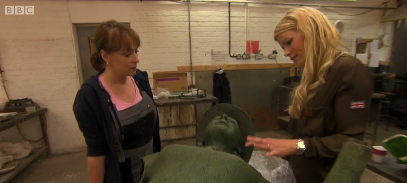 Sculptor Denise Dutton and Countryfile presenter Ellie Harrison looking at the Women's Land Army Memorial
