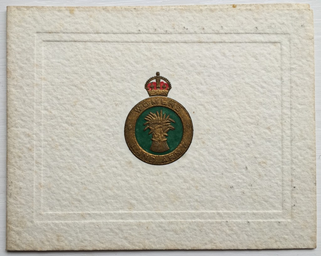 Women's Land Army Christmas Card Source: Catherine Procter's WLA Collection