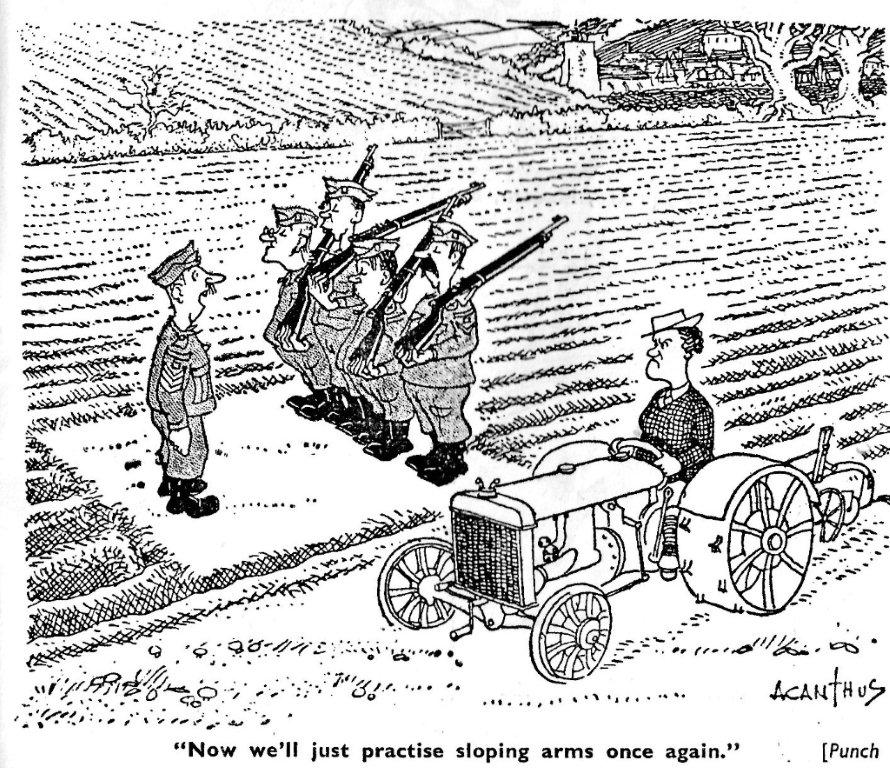 WLA WW2 cartoon re tractor-driving land girl & local Home Guard volunteers 082