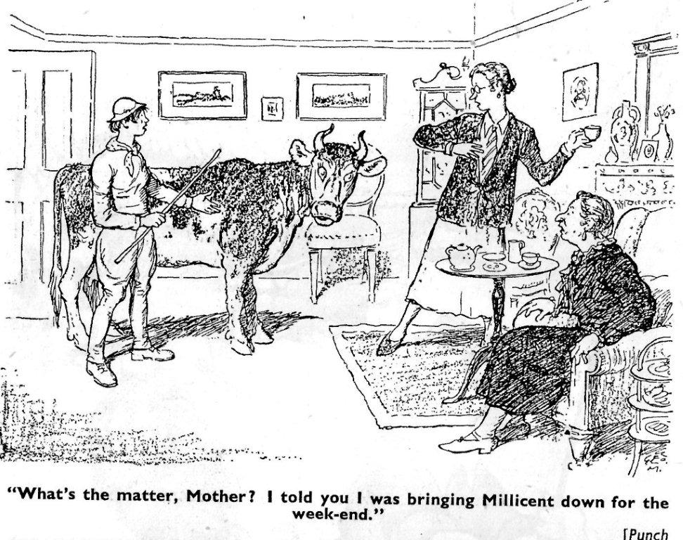 """Source: This undated cartoon originally in Punch magazine, and was then included in the 1940s wartime anthology """"Laughs around the Land"""".  Courtesy of Stuart Antrobus."""
