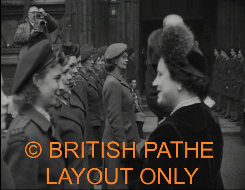 Her Majesty Queen Elizabeth The Queen Mother, talking with a member of the Women's Land Army at the Harvest Festival In Westminster Abbey, 01/11/1948. Click on the image for a link to the full video.
