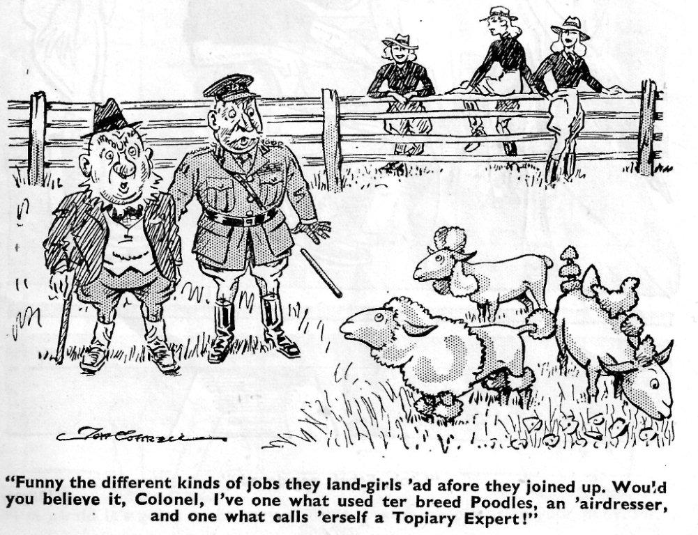 """""""Funny the different kinds of jobs these land girls had..."""" Cartoon. Source: Laughs Around The Land Courtesy of Stuart Antrobus"""
