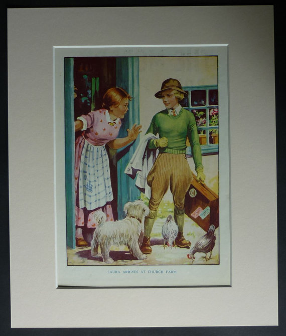 """1940s vintage mounted children's print of a land girl in her uniform arriving at the farm she is to work on. """"Laura Arrives at Church Farm"""". Available framed. Date printed: 1946."""