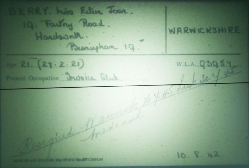 Eileen Joan Berry Women's Land Army Record Card
