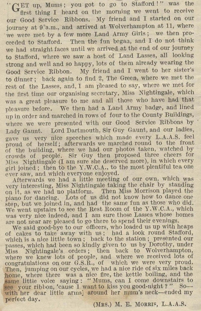 The Landswoman Good Service Article - Stafford by Mrs M E Morris