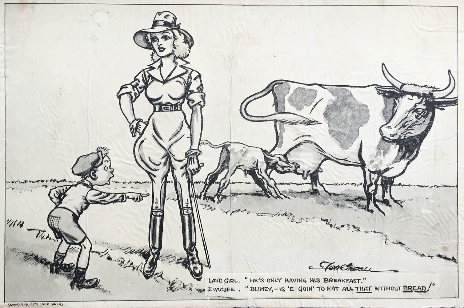 Tom Cottrell Women's Land Army Cartoon - April Fools Day Source: Catherine Procter's WLA Collection