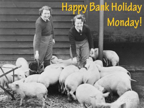 Land Girls Working Feeding Pigs on a Farm During World War II Robert Hunt Bank Holiday Courtesy of Stuart Antrobus