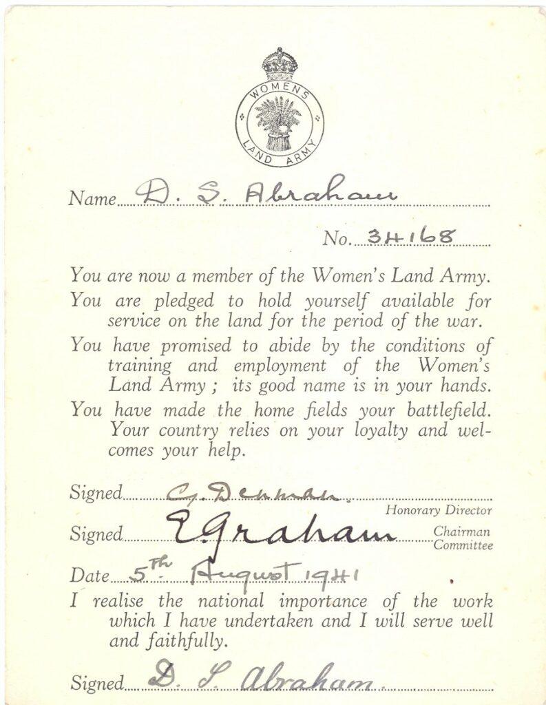 Women's Land Army Pledge Card