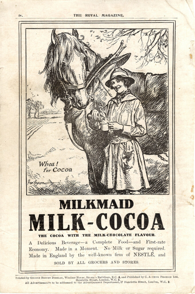 A World War One Land Girl milkmaid advertising Milk Cocoa, published in The Royal Magazine in 1918.