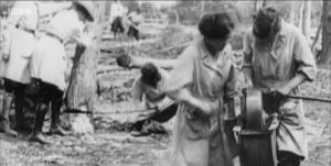 Footage of First World War Women's Land Army timber workers, shown as part of a documentary on Virago on BBC4.