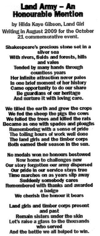 Land Army - An Honourable Mention by Hilda Kaye Gibson.
