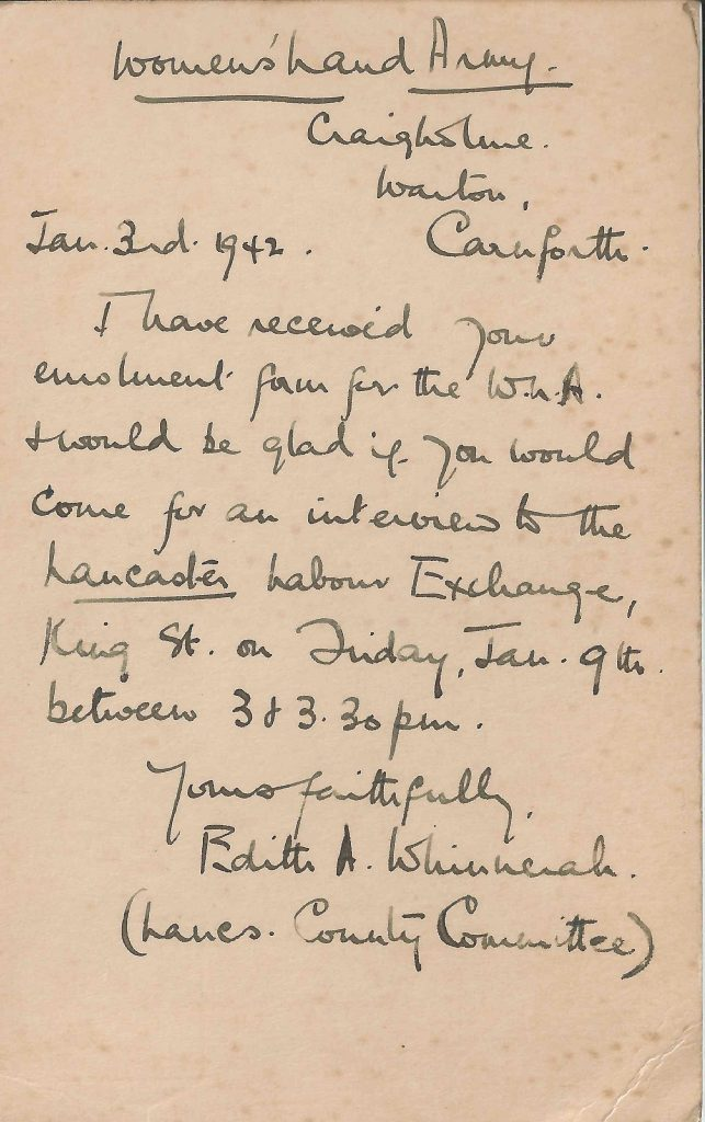 Dorothy Clayden Invitation to WLA letter, 3rd January 1942