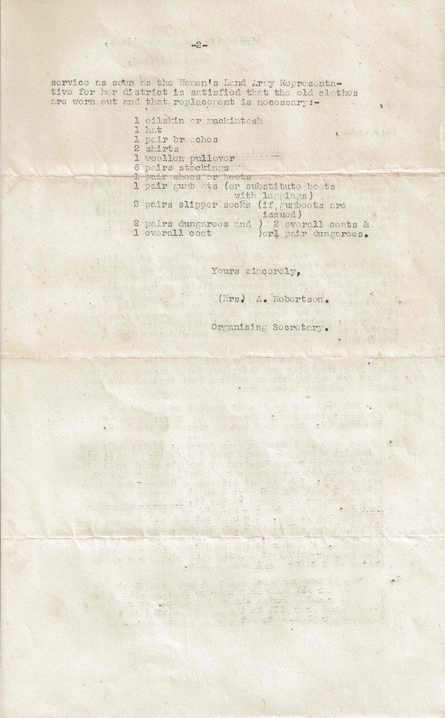 Letter sent on 1st June 1942 regarding the rationing of clothing in return for Dorothy's WLA uniform.