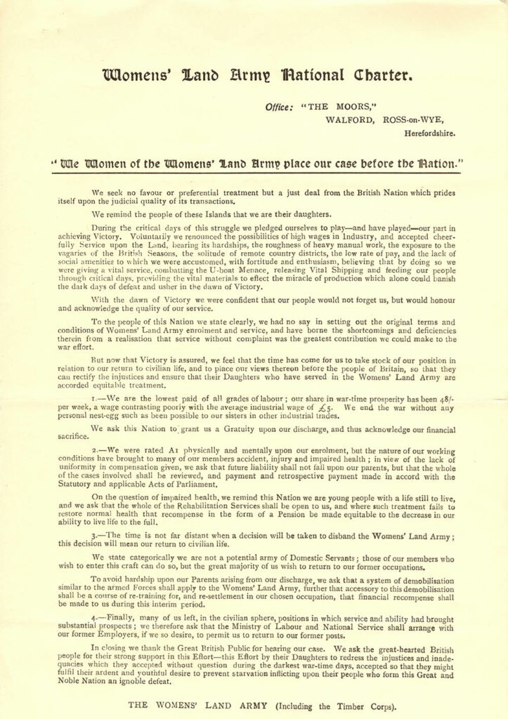 Women's Land Army National Charter