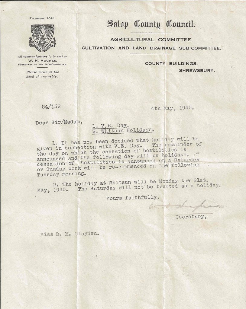 A letter sent to Dorothy about VE Day.
