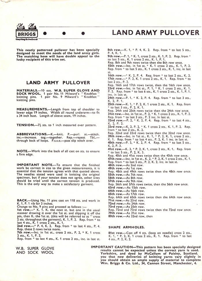 Women's Service Land Army Pull-Over and Stockings Page 5