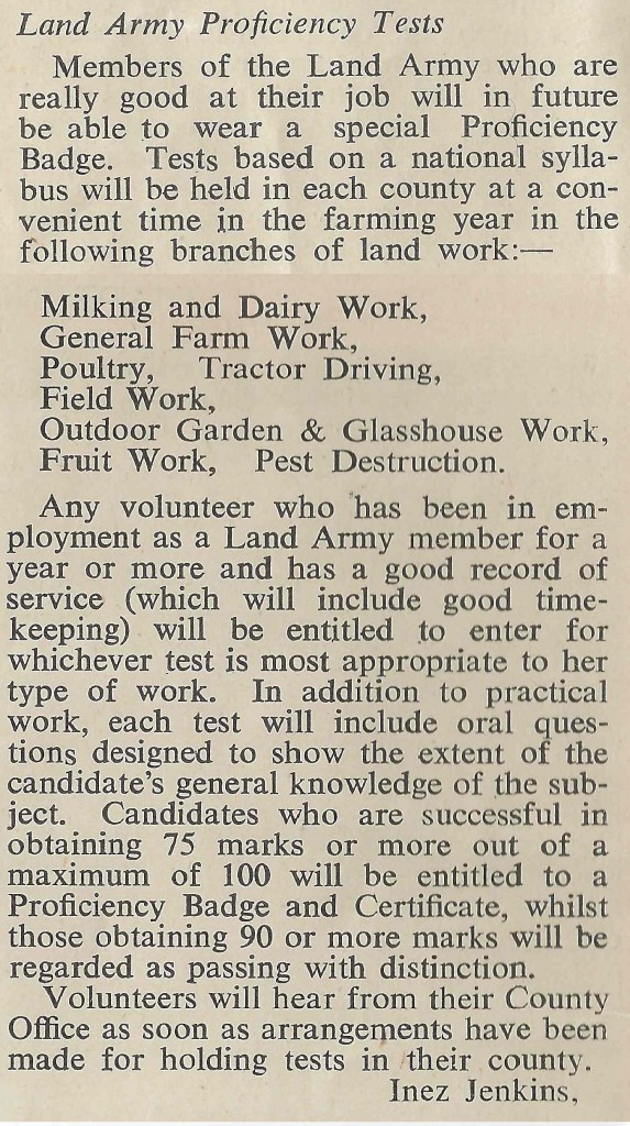 Information on Proficiency Tests in the September 1943 edition of The Land Girl (page 6)