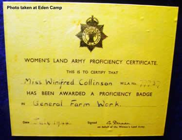 Women's Land Army Proficiency Certificate