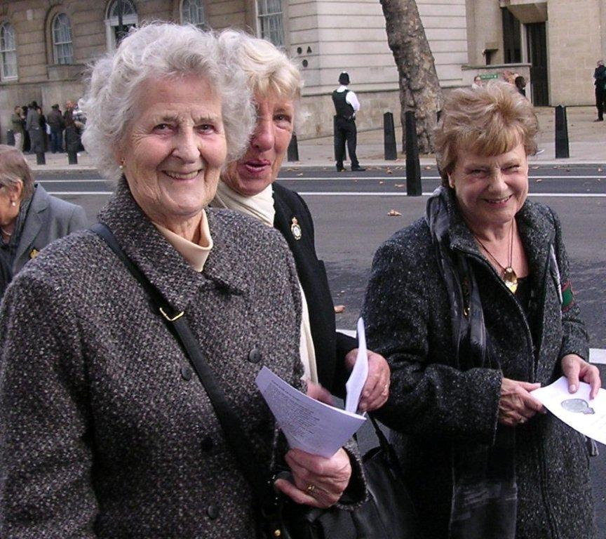 Vera, Renie and Zeita, three former land girls woh served in Bedfordshire, at the October 2009 WLA veterans Rally at Whitehall, London Source: Stuart Antrobus