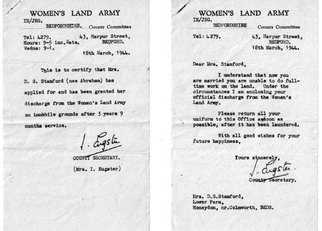 WLA Bedfordshire HQ 2 x letters from Mrs Eugster [Secretary) to Mrs Daphne Stamford nee Abraham 18 March 1944 re leaving service on marriage