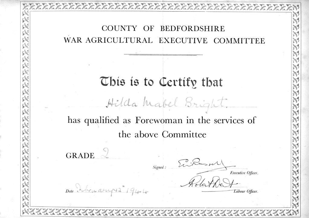 WLA Bedfordshire War Ag Forewoman's Course Grade 2 qualification certificate 12 Feb 1944 for Hilda Bright (Milton Ernest hostel)