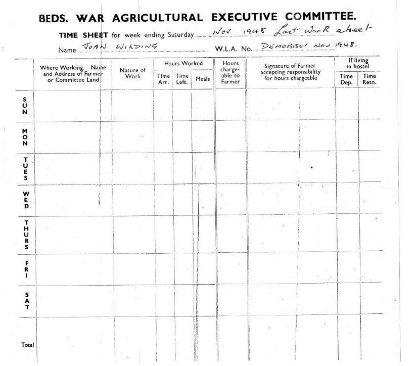 Bedfordshire War Ag Weekly Timesheet