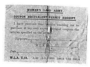 Clothing Rationing Coupon Equivalent Permit Receipt 1940s