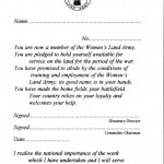 WW2 Blank WLA Pledge Card