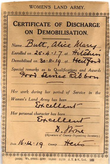 Certificate of Discharge, dated 16 December 1919. Courtesy of Emma Paulus, Herts Memories website.jpg