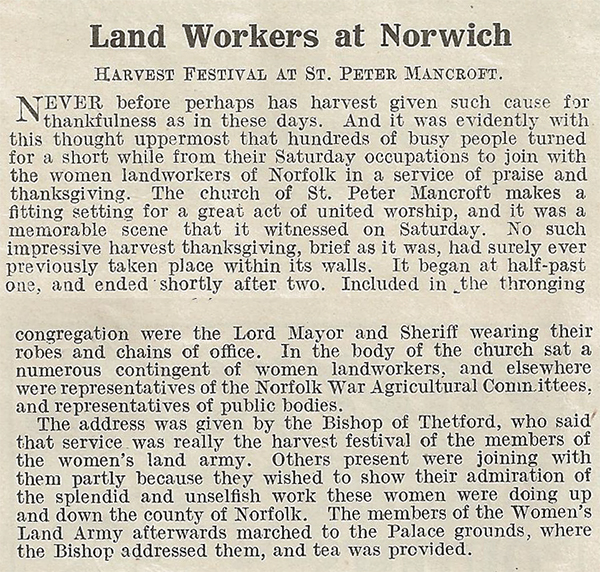Land workers at Norwich celebrate the harvest.  Source: The Landswoman, November 1918, page 247-248