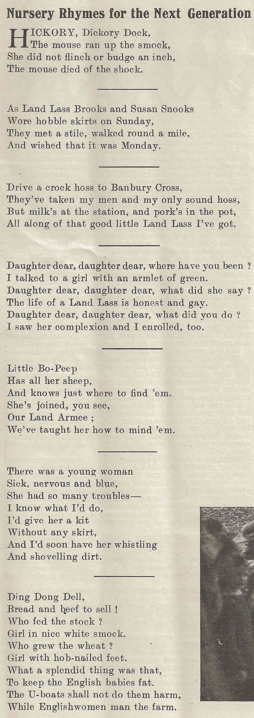 Nursery rhymes for the next generation.... Source: The Landswoman, August 1918, page 171.