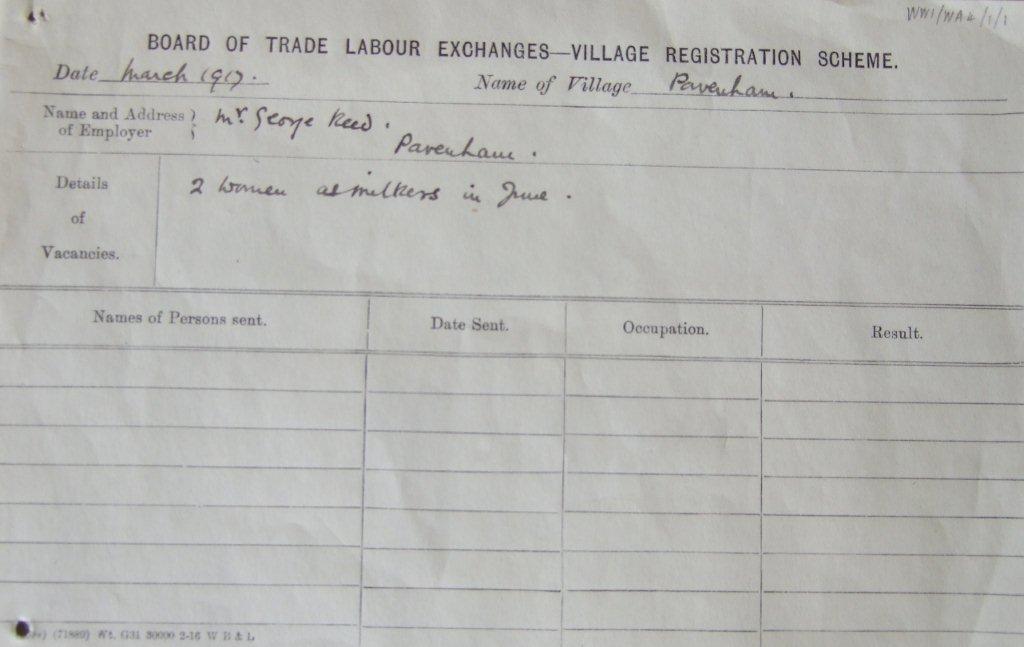 WW1 Village Registration Scheme form, c 1917. Source: Bedfordshire Archives WW1/WA4/1/1