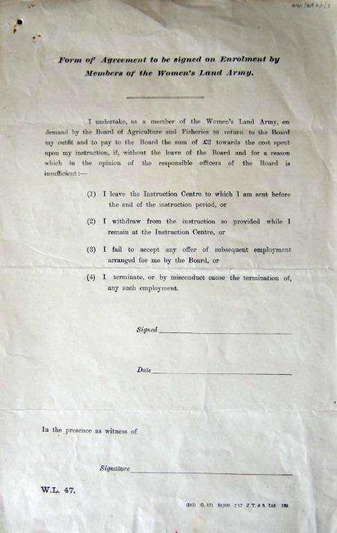 WW1 WLA Enrolment form W.L. 47 c1917