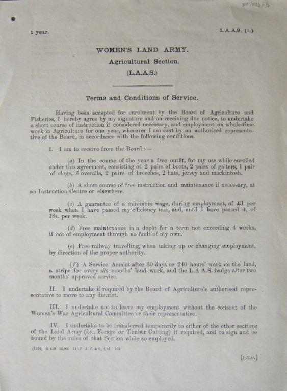 WW1 WLA Terms & Condition of Service for Agricultural Section (Land Army Agricultural Service) Nov 1917.