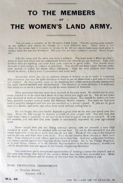 WW1 WLA W.L. 48 'To The Members of the Women's Land Army' Address July 1917 Source: Bedfordshire Archives WW1 WA/4/5 Courtesy of Stuart Antrobus.