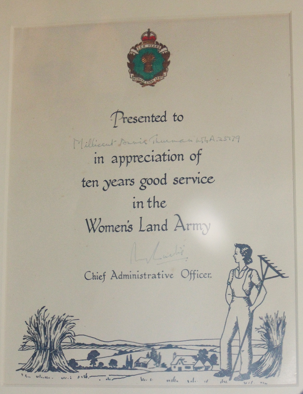 10 Years Good Service Certificate awarded to Land Girls in World War Two. Source: Gressenhall Farm and Workhouse