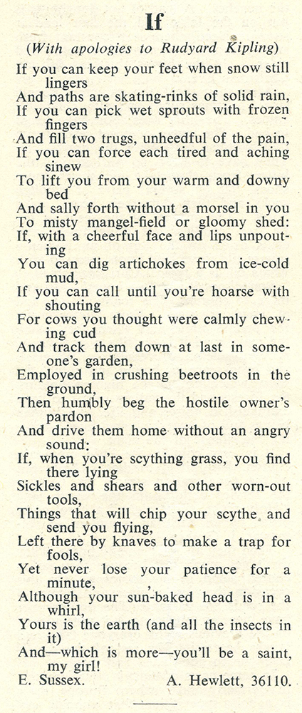 'If (with apologies to Rudyard Kipling), written by Land Girl A Hewlett (36110), published in the December 1942 edition of 'The Land Girl'